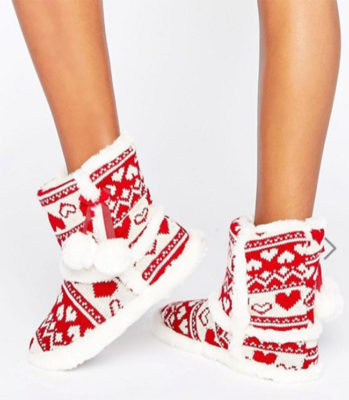 Boux Avenue - Chaussons style bottines en jacquard - Rouge